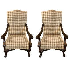 Pair of French Walnut Open Armchairs in the Baroque Style