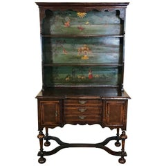 Queen Anne Style Paint Decorated Welsh Dresser or Hutch