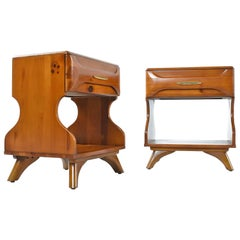 Solid Wood Sculptured Pine Nightstands by Franklin Shockey, circa 1950s