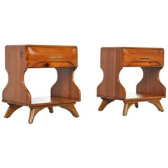 "Solid Wood ""Sculptured Pine"" Nightstand End Tables by Franklin Shockey, 1950s"