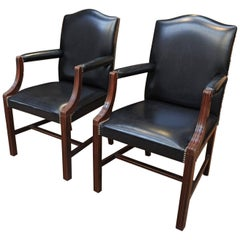 Pair or Set of Four De Coene Frères Leather and Wood Armchairs