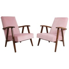 Set of Two Vintage Baby Pink VAR Armchairs, 1960s