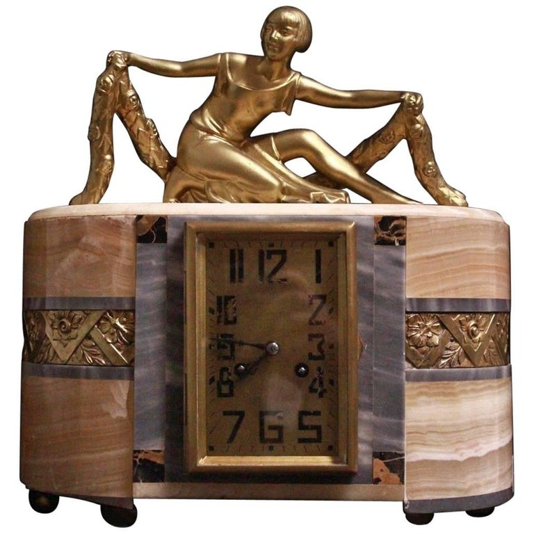 Mantel French Art Deco Clock Lady Art Nouveau