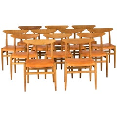 "Set of 12 ""W2"" Dining Chairs by Hans J. Wegner"