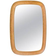 Oval Oak Wall Mirror by Fröseke, Sweden, 1950s