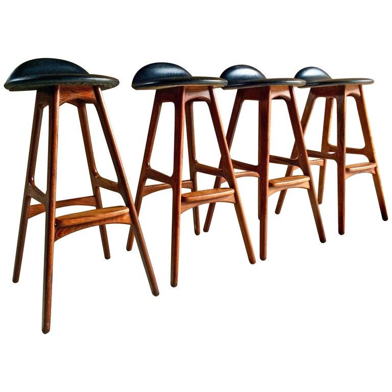 Erik Buch Rosewood Bar Stools Four Danish Midcentury O D Møbler 1960s
