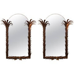 Maison Jansen Couple of Mirrors, Palm Tree Shape Metal Painted Gold France, 1960
