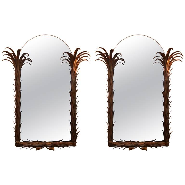 Maison Jansen Couple of Mirrors, Palm Tree Shape Metal Painted Gold France, 1960 For Sale