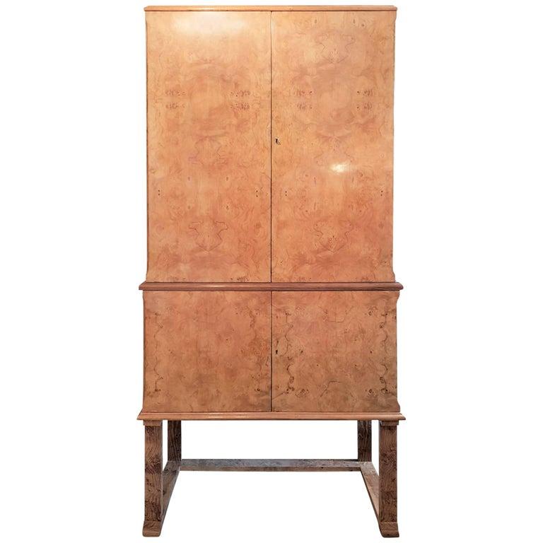Art Deco Cocktail Cabinet in Pale Burr Walnut