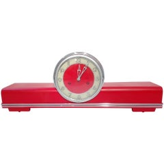 Art Deco Desk Clock in High Gloss Red