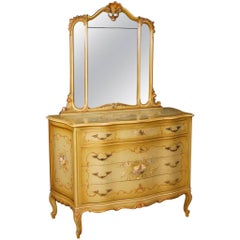 Venetian Dresser with Mirror in Lacquered and Painted Wood from 20th Century