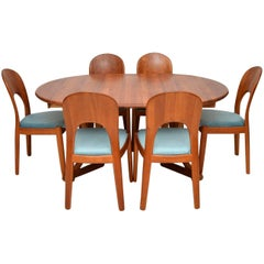 1960s Danish Teak Dining Table and Chairs by Niels Koefoed