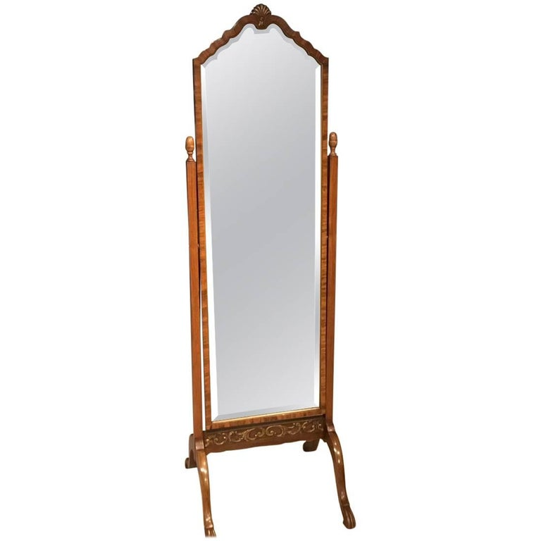 Walnut and Parcel-Gilt Edwardian Period Cheval Mirror