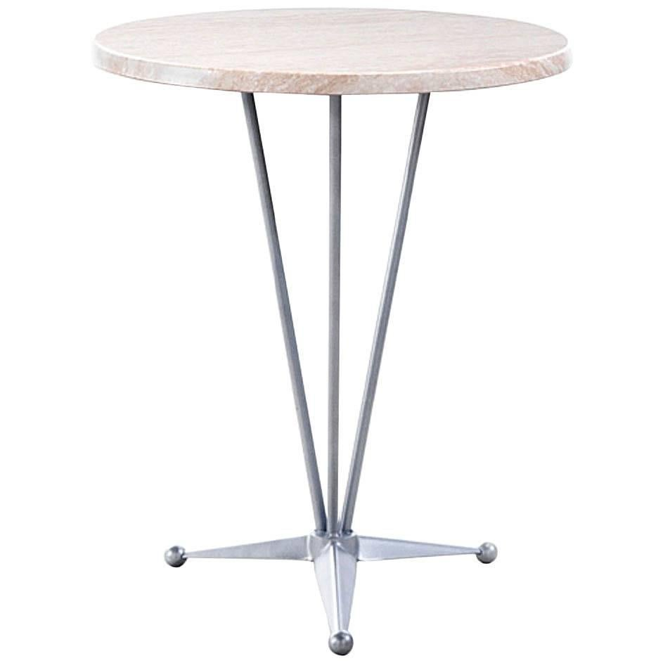 Round Table With Steel Base And Werzalit Top, Garden Table Or Bistro Table