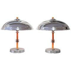 Original Art Deco Pair of Dome Table Lamps with Yellow Bakelite