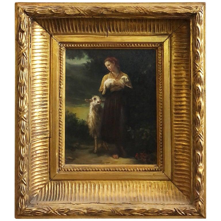 "Oil Painting on Wood ""the Shepherdess"" William-Adolphe Bouguereau"
