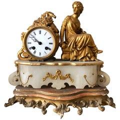 French Gilt Figural Mantel Clock, 1890s