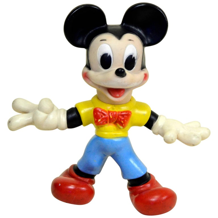 1970s Italian Mickey Mouse Rubber Toy with Movable Arms and Tail for Disney
