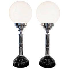 Art Deco Pair of Original Globe Table Lamps with Bakelite