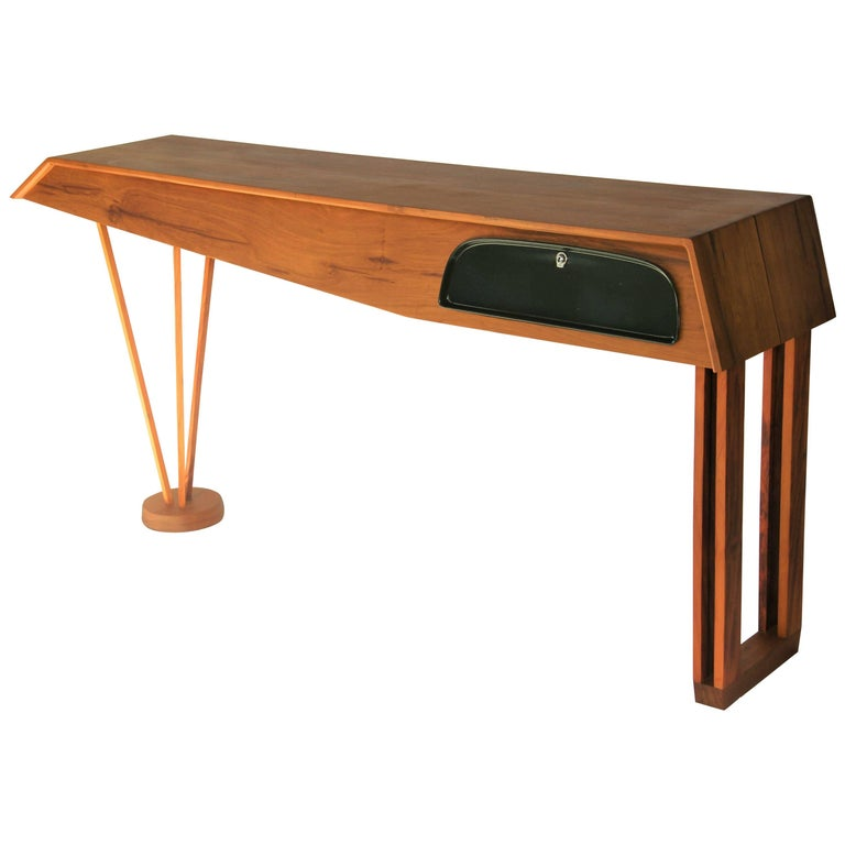 Modern Console Table in Hardwood and Steel, Brazilian Design