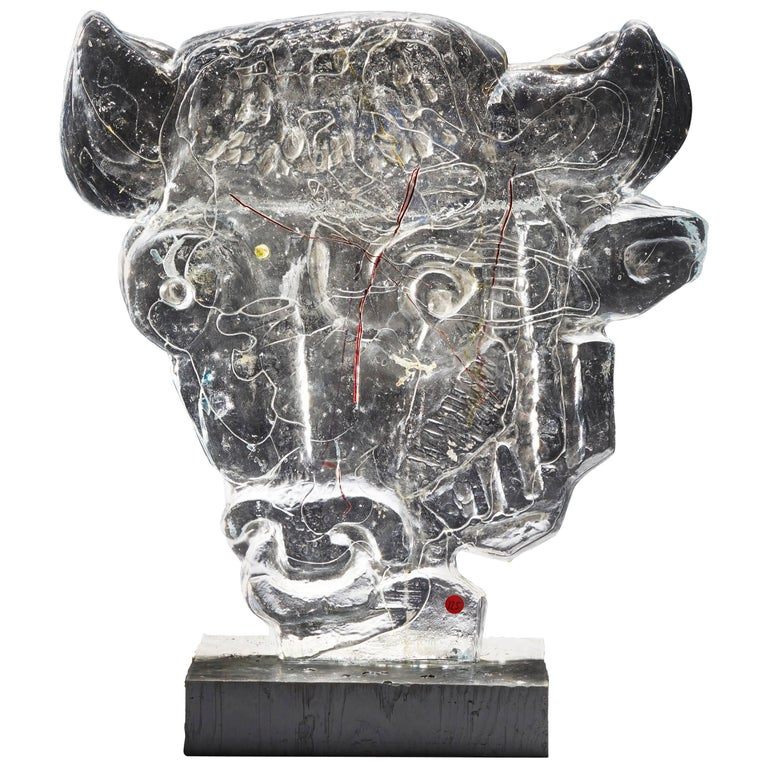 "Glass Sculpture ""Bull Head"" by Edvin Öhrström for Lindshammar Glasswork, 1960s For Sale"