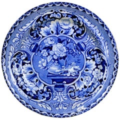 1820s English Dark Blue & White John Davenport Earthenware Floral Dessert Plate