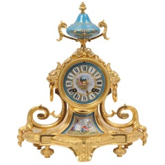 Ormolu and Sevres Porcelain Boudoir Clock
