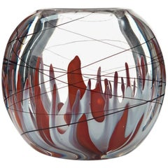 Swedish Underlay Glass Vase by Vicke Lindstrand for Kosta, 1950s