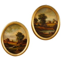 Pair of Italian Signed Landscapes Paintings Oil on Masonite from 20th Century