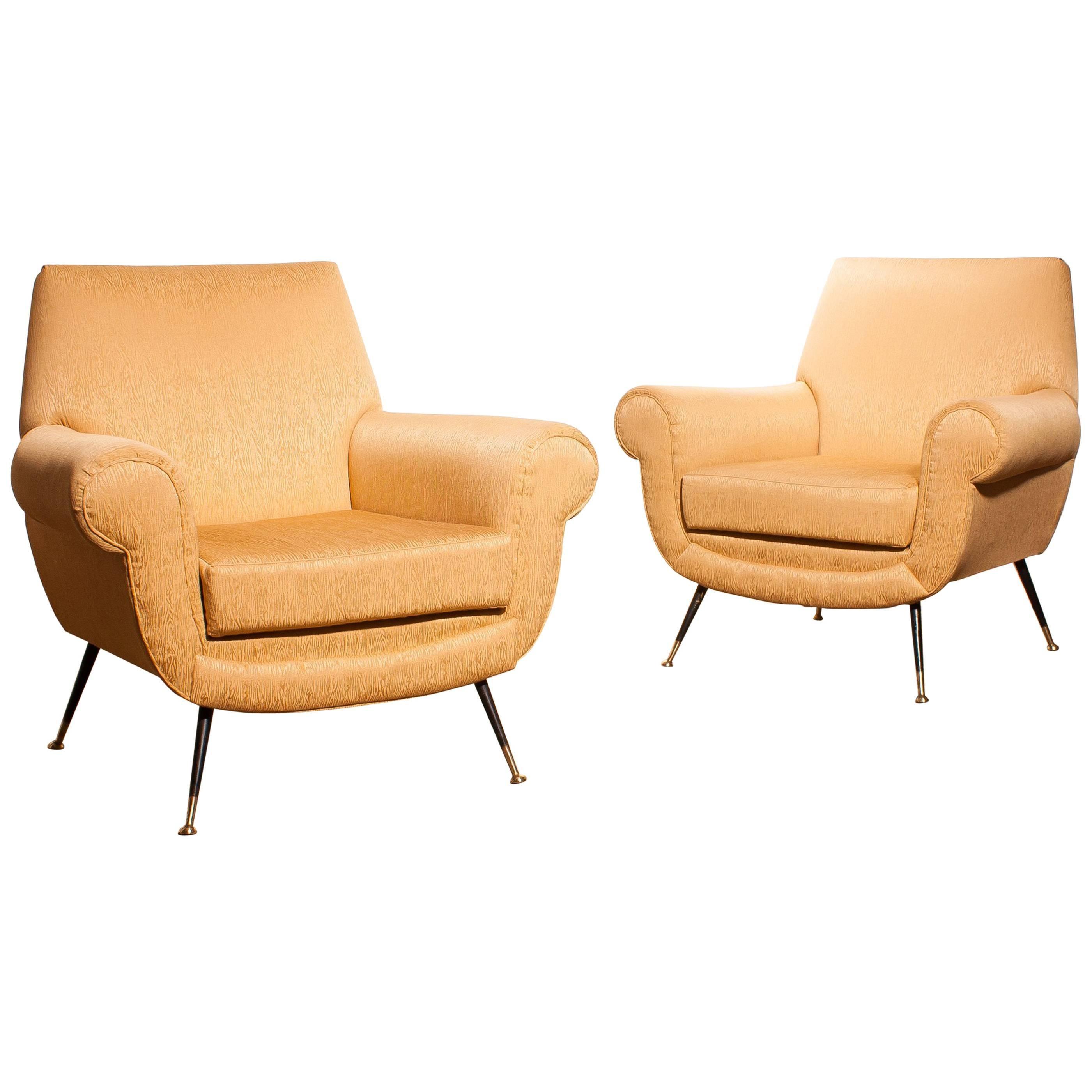 Golden Jacquard Upholstered Easy Chairs By Gigi Radice For Minotti, Brass  Legs. For Sale