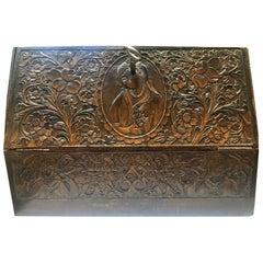 Stunning 19th Century Qajari Wood Carved Paper Filling Box