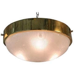 Italian 1950s-1960s Brass and Glass Ceiling Mount or Pendant Light