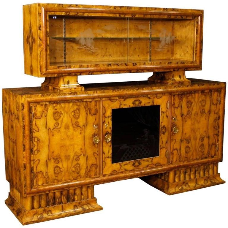 Italian Sideboard in Burl Walnut Wood in Art Deco Style from 20th Century