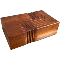 Large Carved Wooden Box, France, 1930s