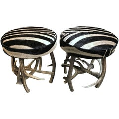 Set of Antler Stools with Zebra Hide
