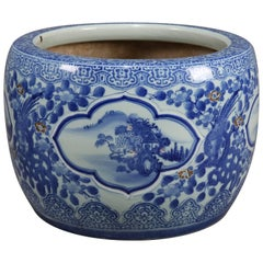 Chinese Blue and White Ceramic Fishbowl Jardinière with Fenghuang, 20th Century