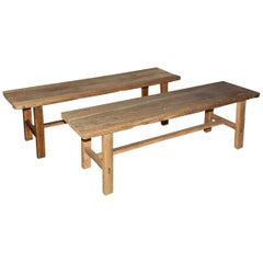 Two Rustic Elmwood Bench-Sold Singly