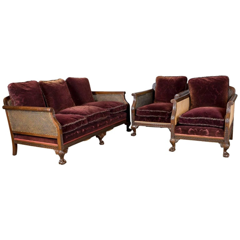 Antique Conservatory Suite Bergere Sofa And Two Chairs Edwardian English For
