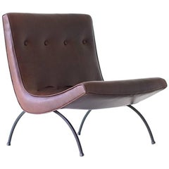 Milo Baughman Leather Scoop Lounge Chair for Thayer Coggin