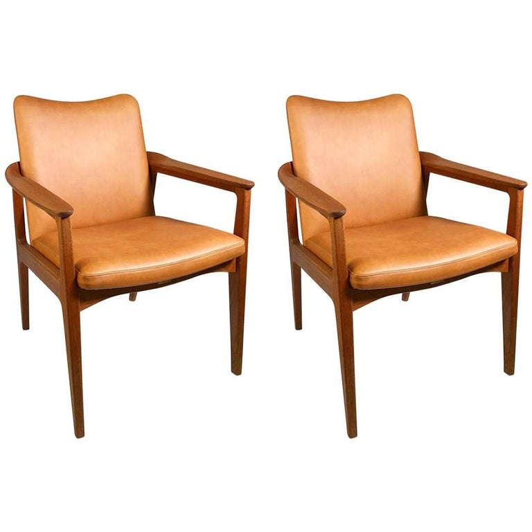 Set of Sigvard Bernadotte Teak Armchairs for France and Son, Denmark, 1950s