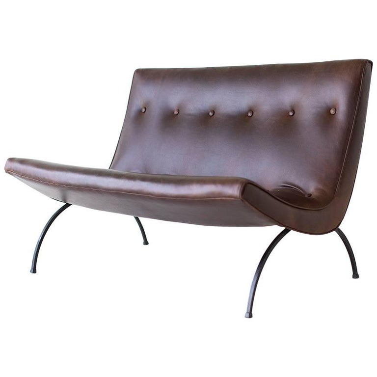 Milo Baughman Leather Scoop Settee for Thayer Coggin