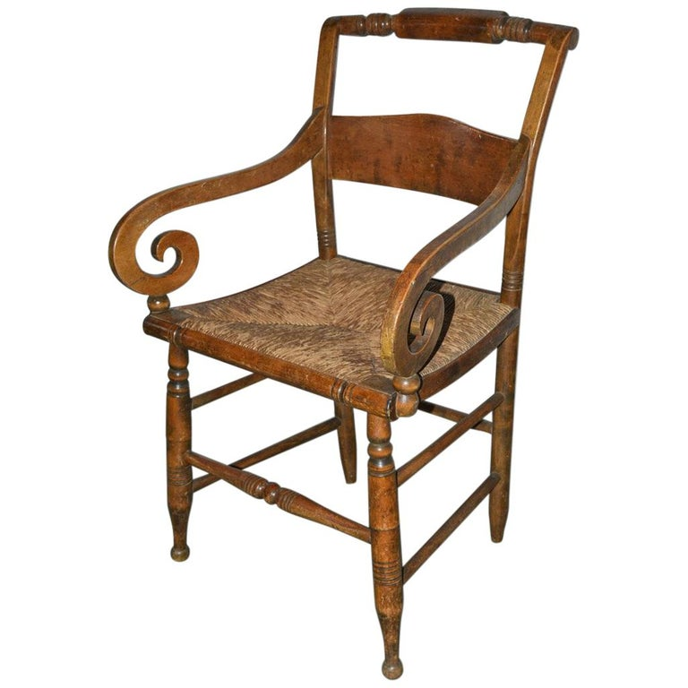 American Country Dining Arm Chair with Raffia Seat For Sale