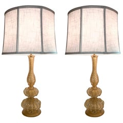 Pair of 1950s Seguso Aventurine Glass Table Lamps, Murano