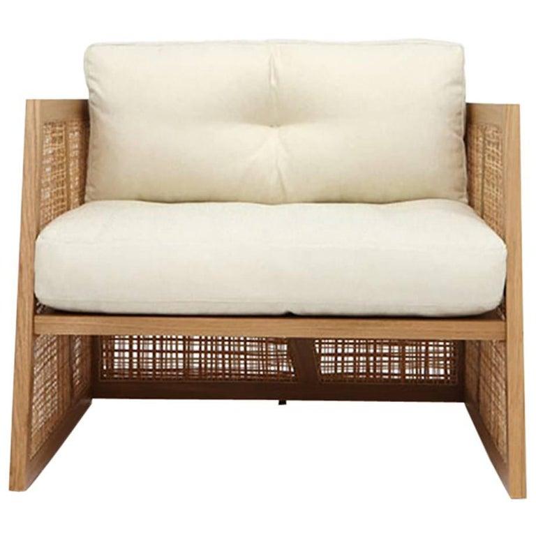 Nada Debs Summerland Terraza Armchair, Ashwood, Straw, Fabric, Midcentury Design