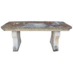 French Antique Limestone Garden Table, 18th Century