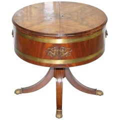 Antique Mahogany Empire Bronze & Brass Drum Side Table Top Opens Drinks Store