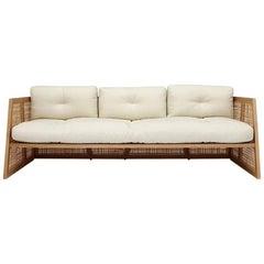 Nada Debs Summerland Terraza Sofa, Ashwood, Straw, Fabric, Midcentury Design