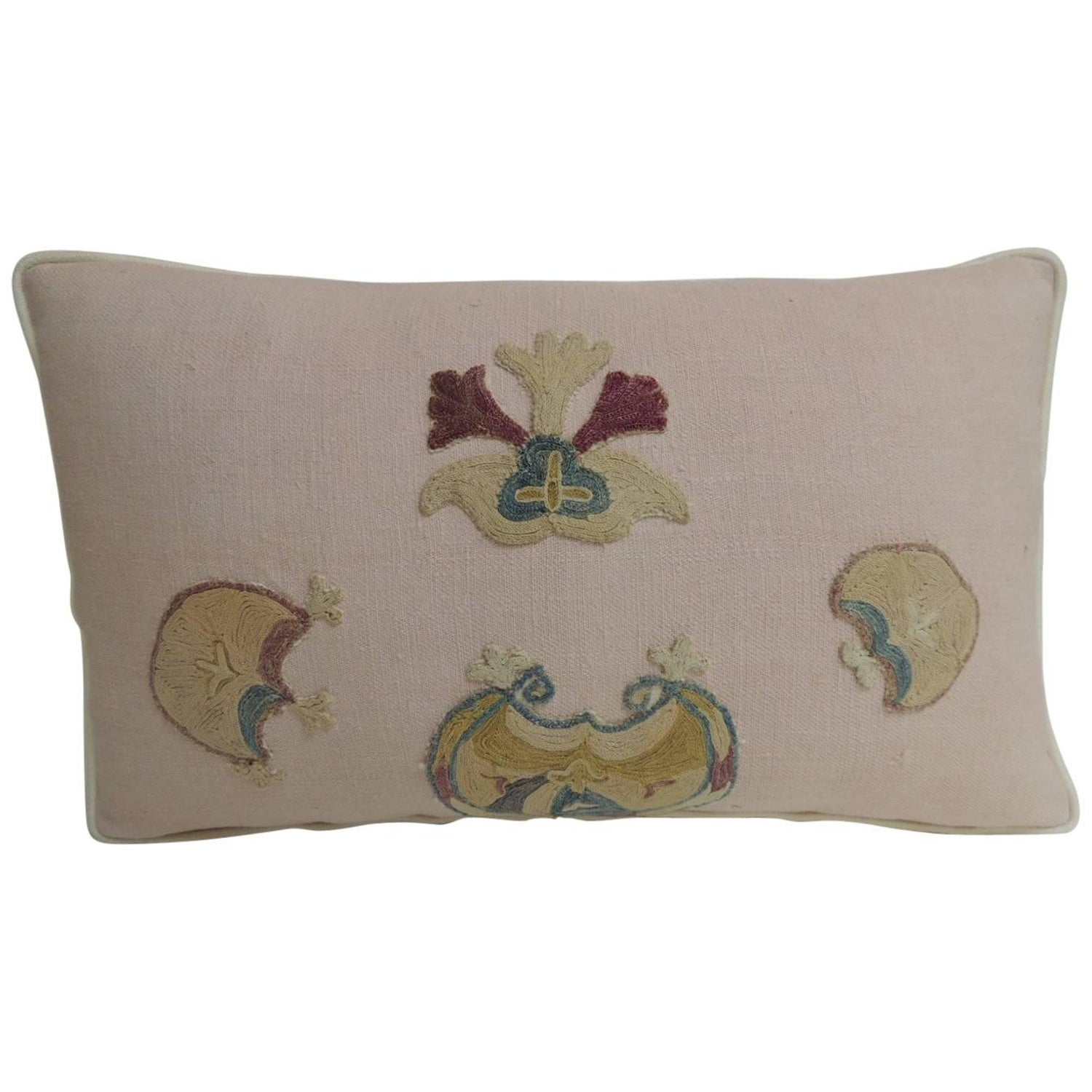 Close Out Vintage Suzani Embroidery Pink Lumbar Decorative Pillow For At 1stdibs