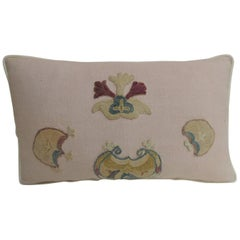 Vintage Suzani Embroidery Pink Lumbar Decorative Pillow