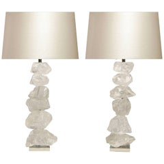 Pair of Natural Form Rock Crystal Quartz Lamps